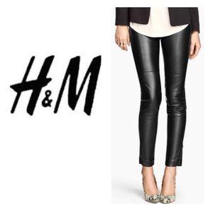 NEW!  H&M vegan leather ankle zip leggings 6
